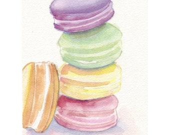 Laduree Macarons no. 5 Watercolor Painting 5x7 Print, Four Pastel Laduree Macarons, Still Life Food Watercolor, 5x7 Print