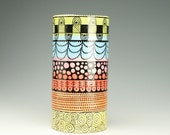 """Large Cylinder Vase Spirals, Dots, Designs Wine Cooler 12"""" Tall Hand Painted"""