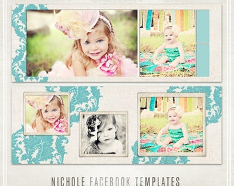 Facebook Timeline Templates - 2 banners, profile picture & tab image - Nichole Collection