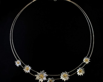 7 Daisy Chain Necklace 24ct Gold & Silver - Made to Order