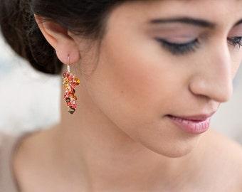 Orange gemstone earrings dangle sterling silver 14k gold fill