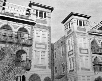 Custom Pencil Drawing From Your Photo- 16x20 Original House Home Landscape Sketch Art From Picture