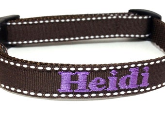 Personalized -  Brown Side Stitched Dog Collar - 1 inch wide