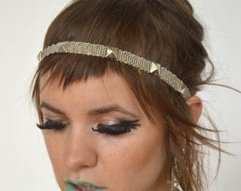 Up-Cycled VTG Furniture Trim Headband with Pyramid Studs // OSFM