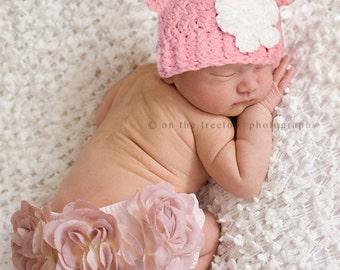 NEWBORN Baby Girl Hat, 0 to 1 Months Baby Girl Hat, Girl Monkey Hat, Rose Pink Hat, White Flower. Newborn Photo Props. Baby Shower Gift.