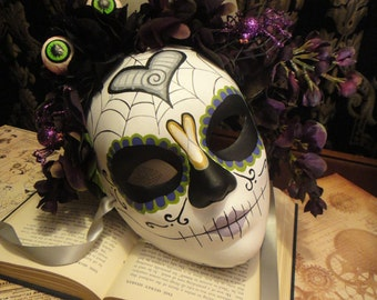 Goulia - Day of the Dead Mask Eggplant Ready to Ship headdress and Heart Katrina motif spiders sugar Skull Dia De los Muertos Calavera mask