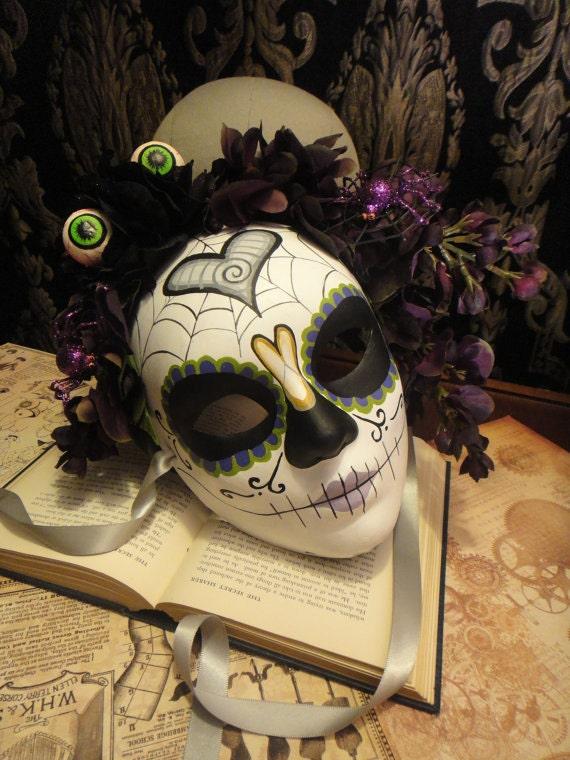 Goulia - Day of the Dead Mask Eggplant Ready to Ship headdress and Heart Katrina motif spiders sugar Skull Dia De los Muertos Calavera mask