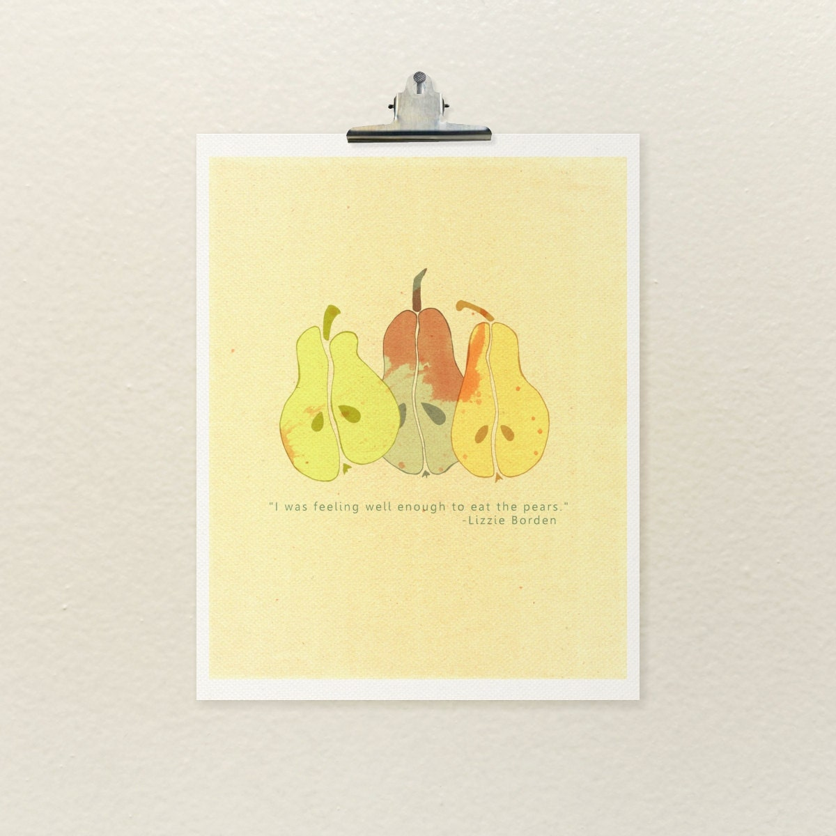 Quirky Kitchen Artwork: Lizzie's Pears // Typographic Print Quirky Gothic Kitchen