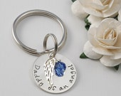 Daddy of an angel - Remembrance key chain with angel wing and birthstone - Sterling Silver