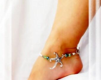 Sea Creature Starfish Anklet Beach Ankle Bracelet Cruise Jewelry Resort Body Jewelry