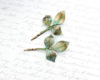 Branch Bobby Pins Leaves Leaf Hair Clips Patina Verdigris Green Woodland Wedding Hair Accessories Hair Slides Nature Bridal Bridesmaids Gift