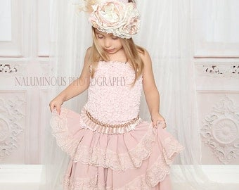 Breathless..Baby Girl Blush Pink Long Maxi Chiffon Lace Skirt, Woodland/Country Wedding Flower Girl,Tea Parties,Birthdays & Photo Shoots