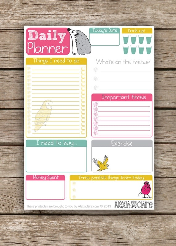 daily planner cute hand drawn animal illustrated to do