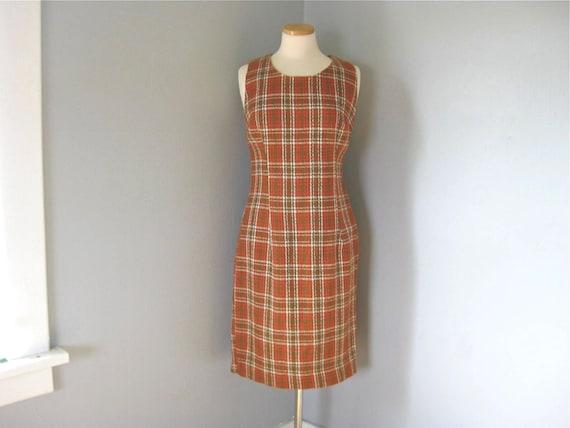 1960s Vintage Handmade Plaid Sleeveless Shift Dress