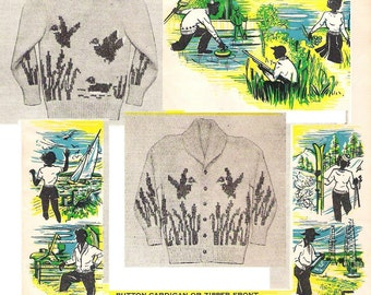 Vintage 1950s Mens Sweater Pattern Ducks Knitted Charted Design Unisex Adult Size 38 - 44 Bouquet 23B pdf