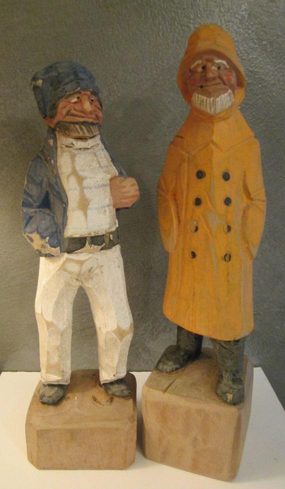 Large Nautical Folk Art Wood Carvings Sailor And Pirate