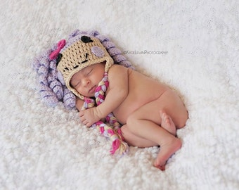 Little Miss Loopy Hat- Lalaloopys Inspired Beanie in Light Purple, Hot Pink and Tan Available in Newborn to 5 Year Size- MADE TO ORDER