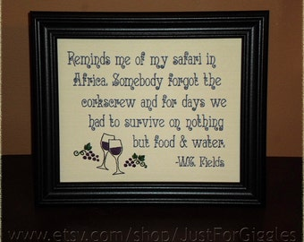 """Funny sign Wine Quote """"Corkscrew Emergency"""" W. C. Fields 8x10 Framed Embroidery- adjustable in color"""
