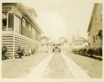 "Vintage Photo ""The Parked Car"" Home House Artistic Decor Auto Snapshot Old Antique Photo Black & White Photograph Found Paper Ephemera - 30"