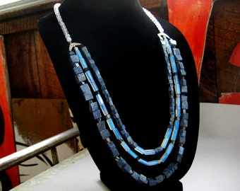 Triple stranded blue coral opalite crystal sterling silver beaded necklace
