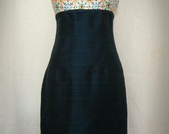 Mod Print Silk Grecian Halter Cocktail Dress, Limited Edition, Size Medium (8)
