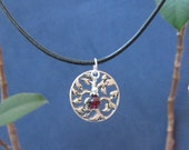 Garnet Birthstone January Finds, Tree of Life, Sterling Charm, Black Leather Rope Necklace Heart Chakra Fertility Jewelry Inspiring