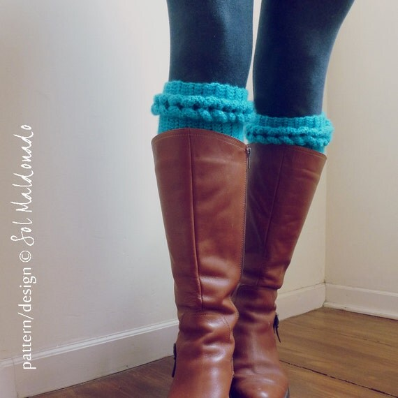 Beginner Crochet Boot Cuff Pattern : Boot Cuff Crochet Pattern PDF - Braided Leg socks, boot ...