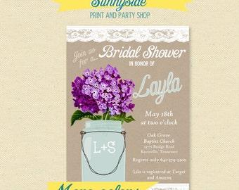 Country Mason Jar Bridal Shower Invitation - You Choose Flower - Printable Kraft Burlap Lace Invite