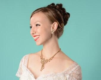 Vintage 1960s Aurora Borealis Juliana Necklace Earrings Rhinestone Bridal Fashions