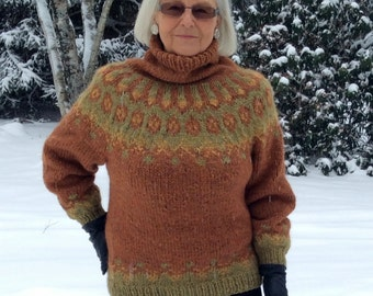 Handknit, Earthy Shades of Brown & Green, Icelandic  Lopi Sweater, Size: Small-Medium