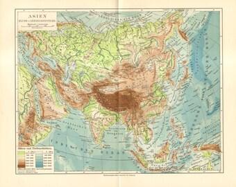 1909 Original Antique Relief Map of Asia