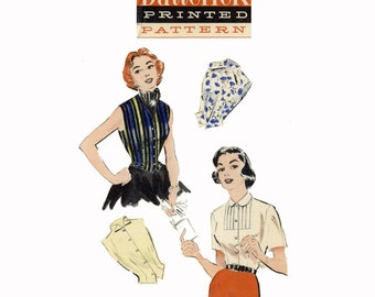 1950s Blouse Pattern Bust 30 34 Butterick 6784 Rockabilly Tops Weskit Blouse Sleeveless Front Button Peter Pan Womens Vintage Sewing Pattern