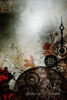 Steampunk botanica photograph vintage clock parts ghostly figure sepia