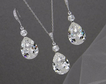 Bridal Jewelry Set, Crystal Pendant Earrings Necklace Jewelry Set , Wedding Jewelry, Bridesmaids Jewelry Set, Crystal Drop Set