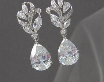 Bridal Earrings,  Crystal wedding earrings, Rose Gold Wedding jewelry, Swarovski Bridal Jewelry,  Bridesmaids, Callie Bridal Earrings