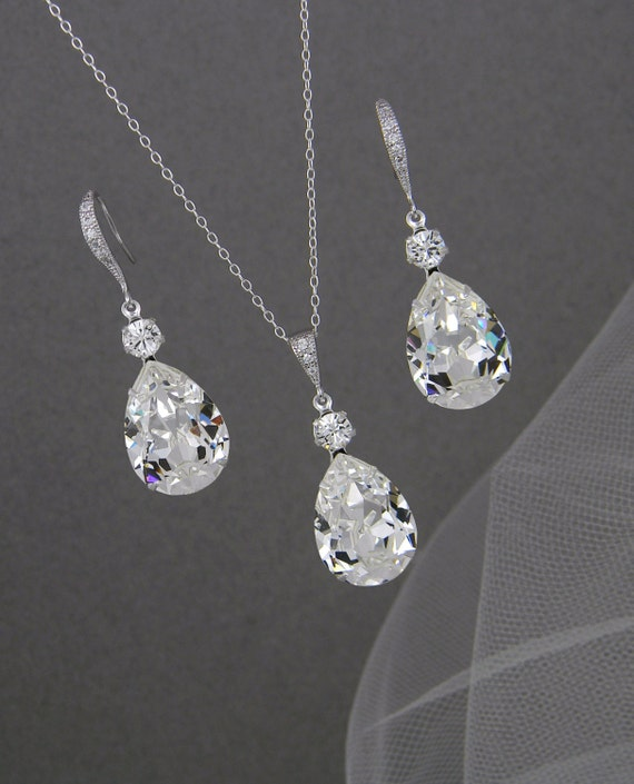 bridal jewelry set pendant earrings by crystalavenues