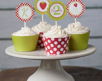 Printable Strawberry Party Cupcake Toppers/Party Circles