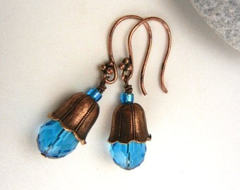 Cerulean blue earrings with copper fluted bead caps, crystal drops and fancy ear wires // floral earrings