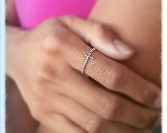 Beaded Sideways Cross Ring - Sterling Silver Religious Jewelry - Baptismal Confirmation Christmas Christian Gift for Her
