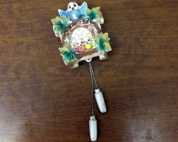 Vintage Kitsch Bluebird Cuckoo Clock Wall Pocket E23