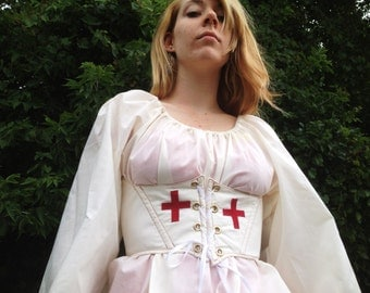 Red and White Corset/Waist Cincher With Red Cross