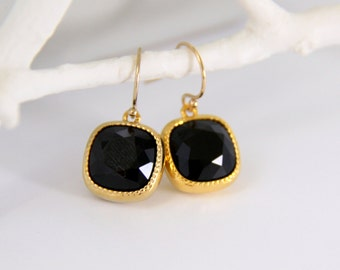 Black and Gold Swarovski Crystal Earrings - Cushion Cut Earrings - Jet Black Dangle Earrings