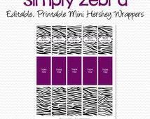 Zebra Mini Candy Bar Label, Purple, Black and White Birthday Party Favor, Candy Wrapper, Shower Favor - Editable, Printable, Instant