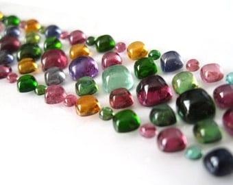 Colored Gemstone Cushion shape Cabochon Rainbow Bracelet Set, loose cabochons, loose gemstones