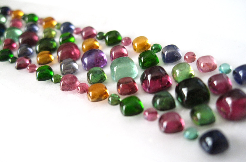 colored gemstone cushion shape cabochon rainbow bracelet set