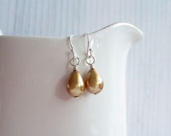 Champagne Drop Earrings, Teardrop Earrings, Swedish Jewelry Design, Made in Sweden