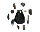 Black Wolf Leather Medicine Pouch personalized