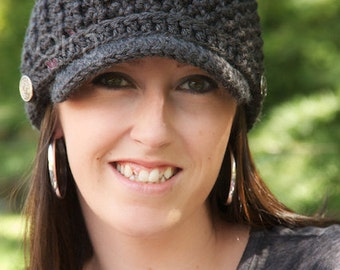 Women's Brimmed Beanie - Charcoal Grey - Made to Order