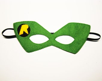 Robin superhero felt mask (2 years - adult size) - Green Yellow Black - for boys girls - soft fun Pretend Dress up play party accessory