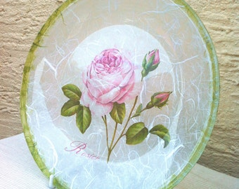 Glass Plate with Pink Rose Design, Rose Glass Plate, Home Decor,  Round Glass Decoupage Plate, Rose Glass Dish, Ready to Ship
